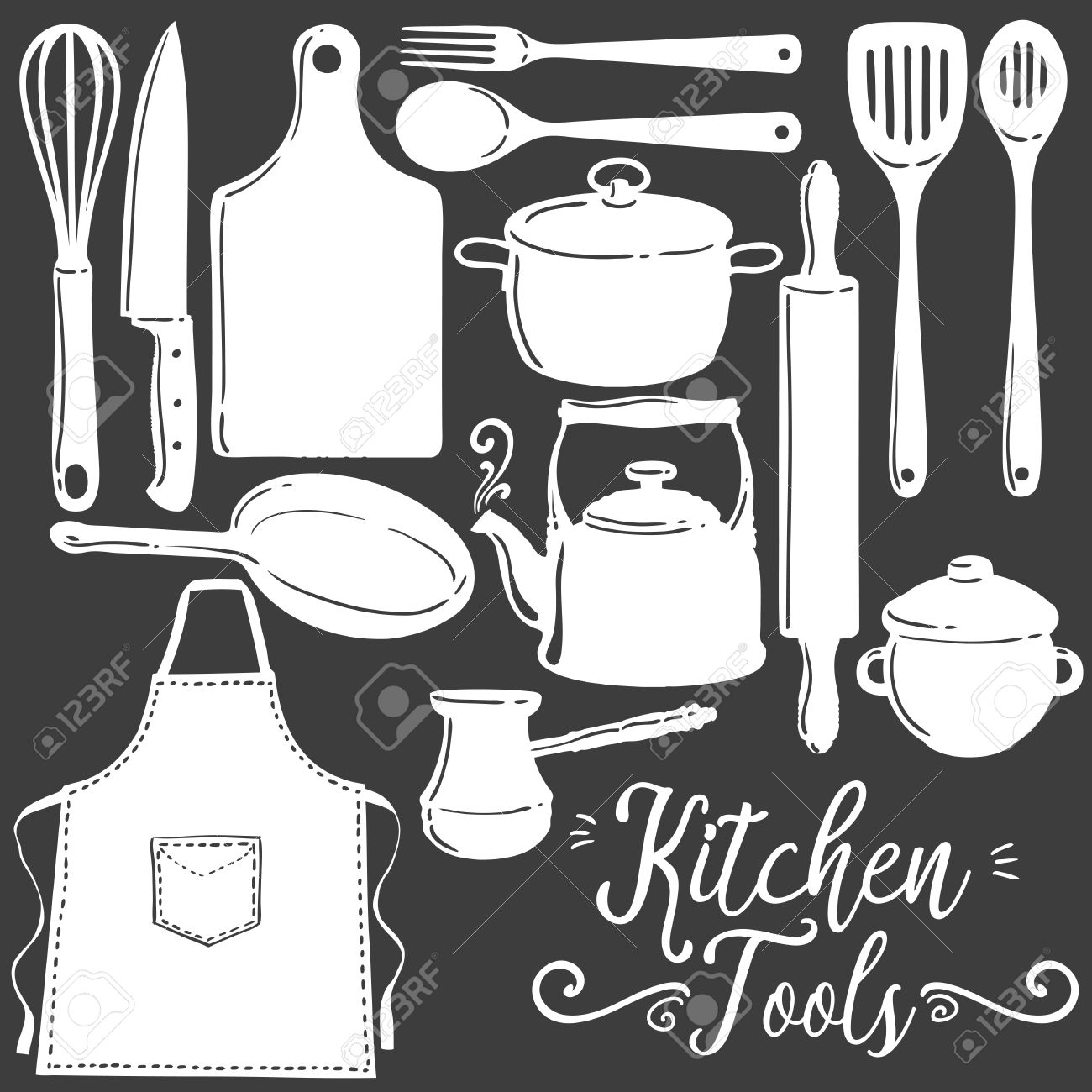 Kitchen Tools, Baking, Pastry Silhouette Flat Vector Set. Icon ...