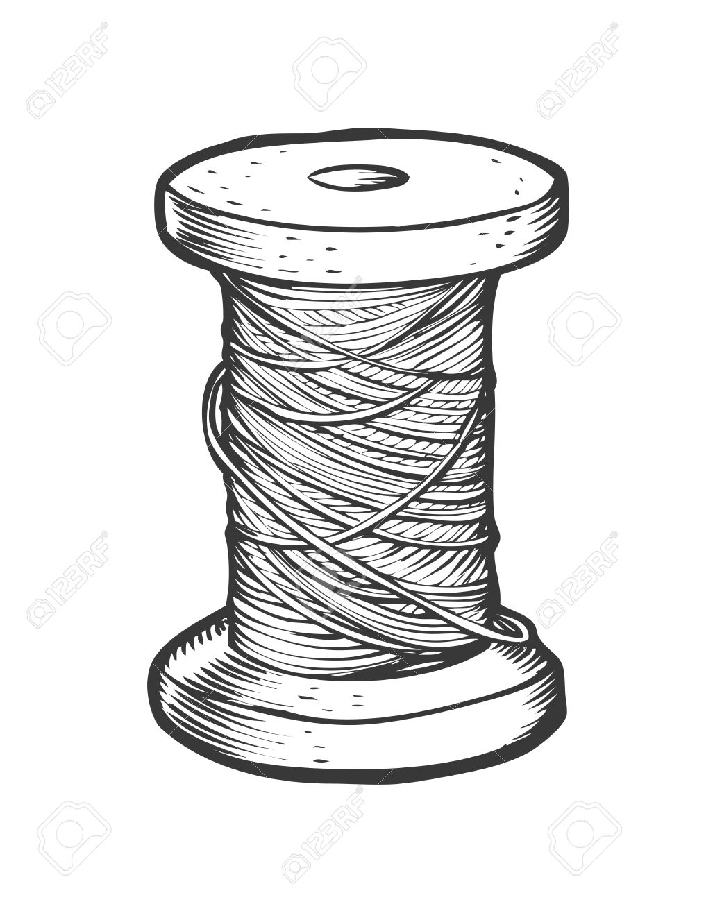 Spool Of Thread Vector Isolated Illustration. Hand Drawn Doodle ...