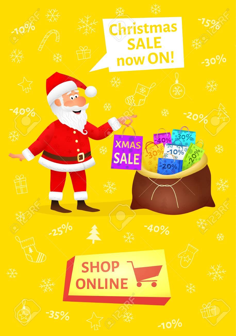 Bandera De Navidad Con La Tienda De Botón En Línea. Cartel De La Venta Con  Carácter Divertido Plana Hombre Con Bolsa De Compras En El Fondo De La  Navidad. 724647c2340