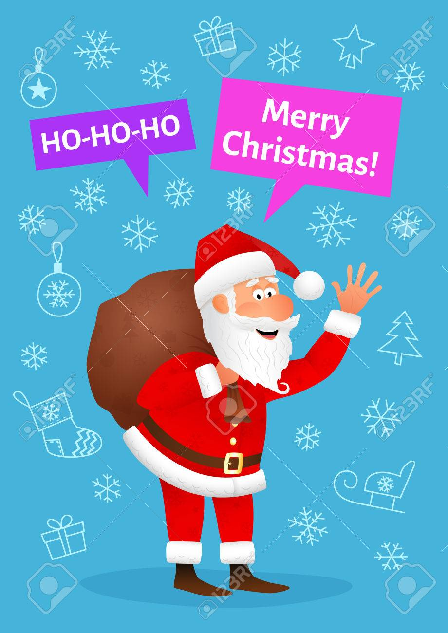 Santa claus flat character isolated on blue christmas hand drawn santa claus flat character isolated on blue christmas hand drawn background standing funny old man kristyandbryce Choice Image