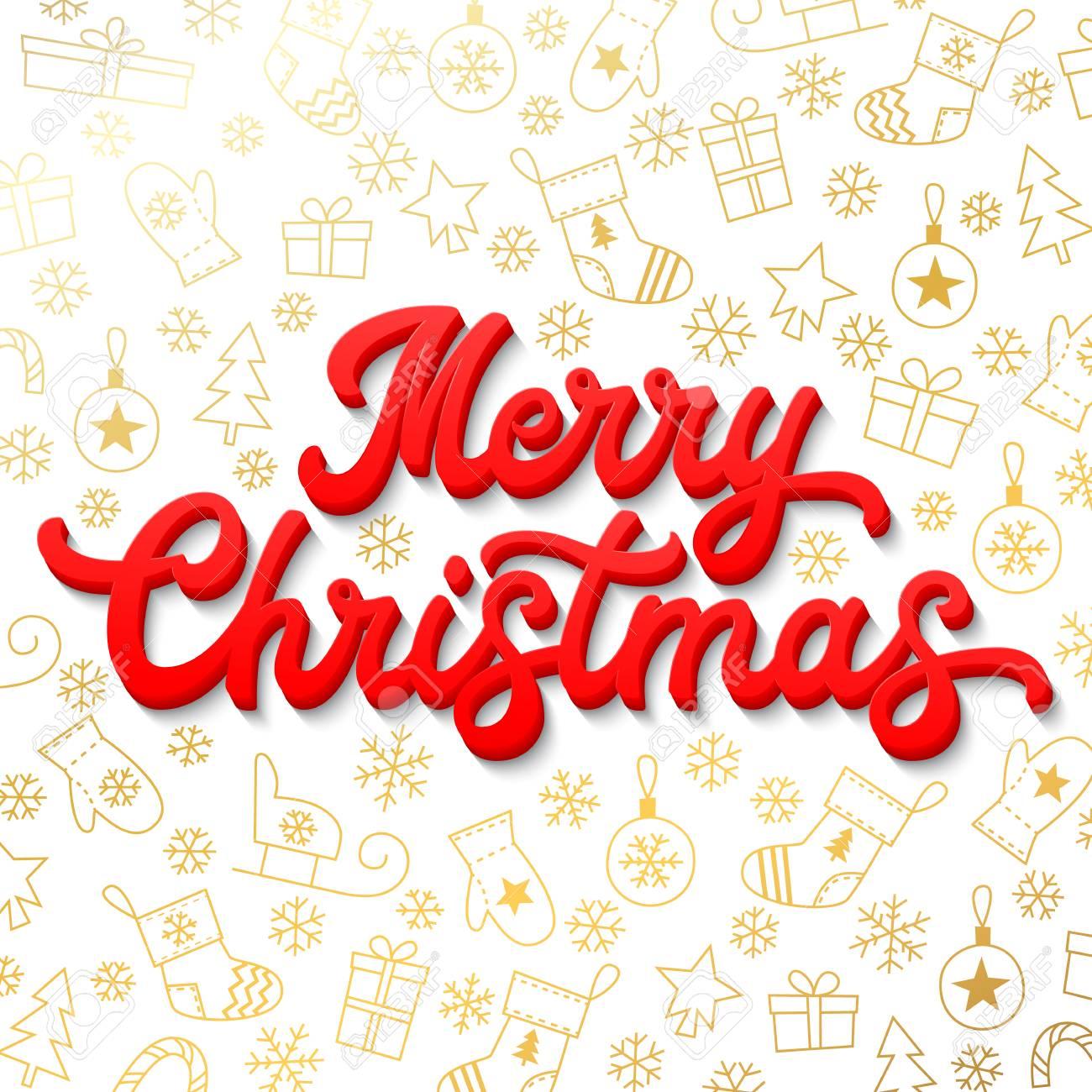 Vettoriale Buon Natale Red 3d Xmas Lettering Iscrizione Su Sfondo