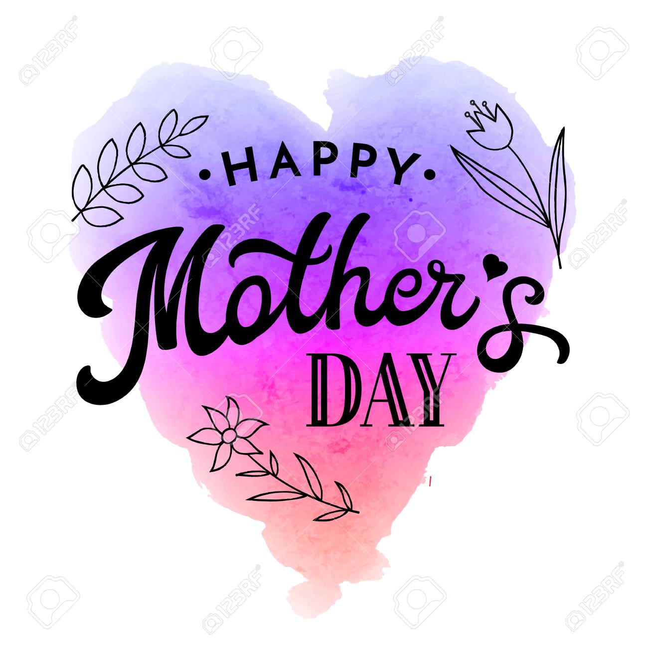 Happy mothers day greeting card with flower and black hand happy mothers day greeting card with flower and black hand lettering text on rainbow abstract kristyandbryce Choice Image