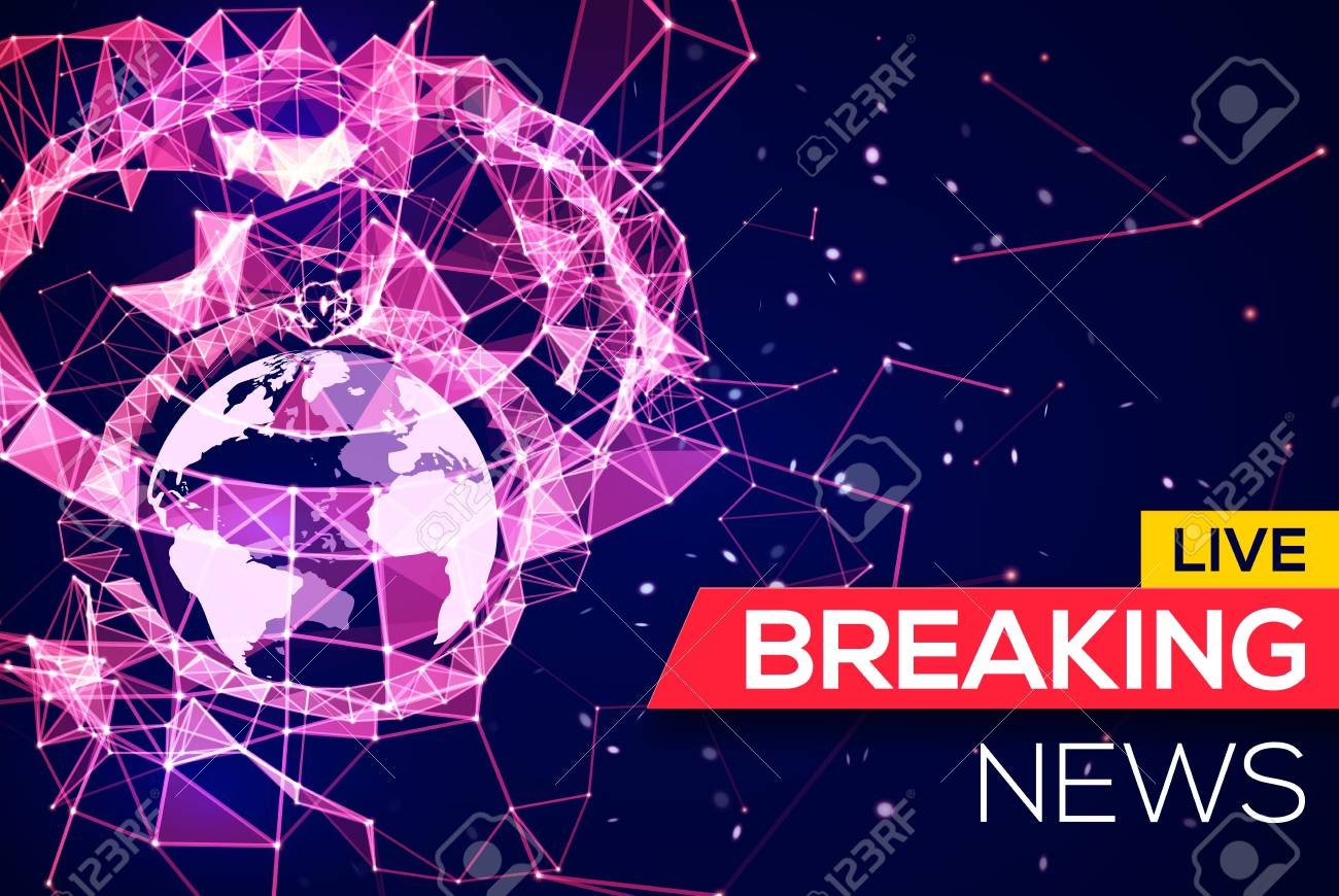 Breaking News Live Banner On Blue Glowing Plexus Structure Background With Earth Planet World