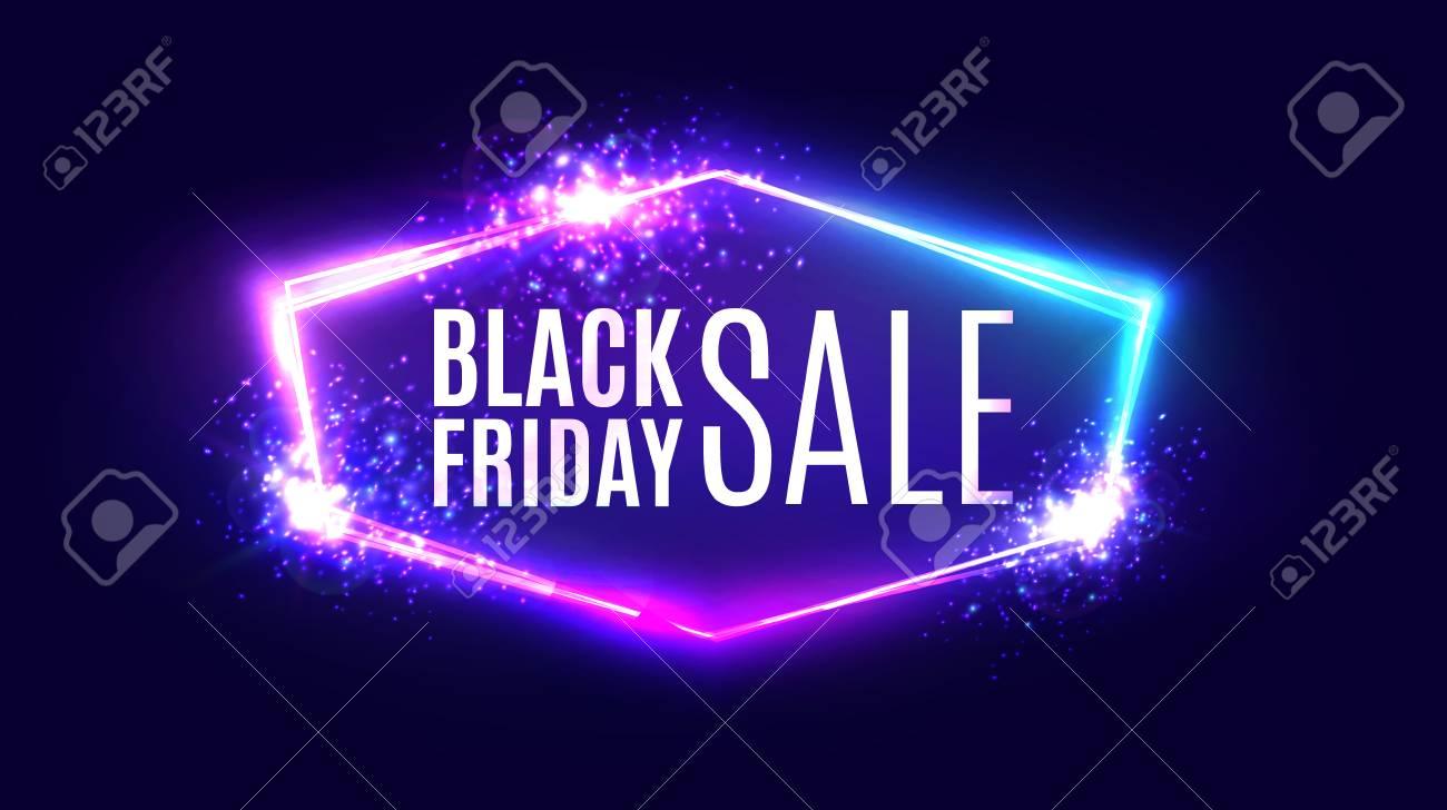 Black friday sale banner on neon background. - 87465593