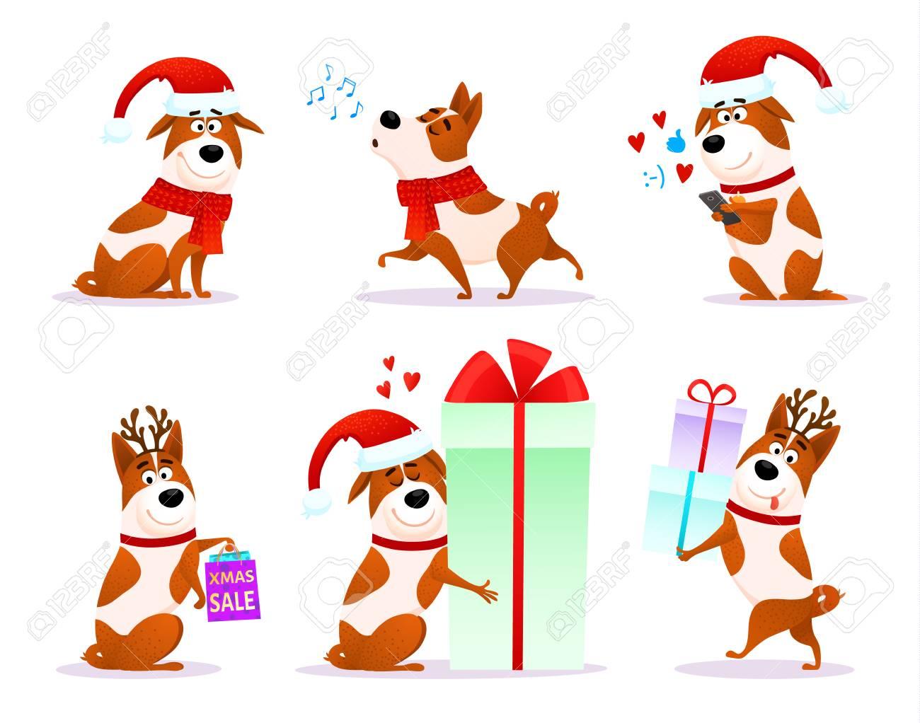 Christmas funny cartoon dog emoticons set  Xmas flat puppy emoji