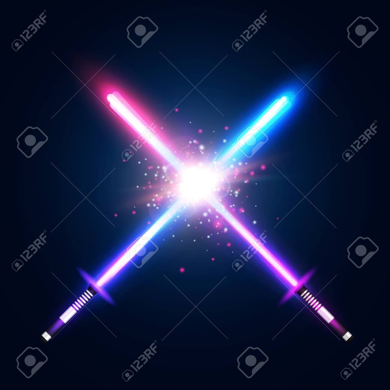 Two crossed light neon swords fight. Blue and violet crossing laser sabers war. Club icon or emblem. Glowing rays in space. Battle elements with star, flash and particles. - 92032337