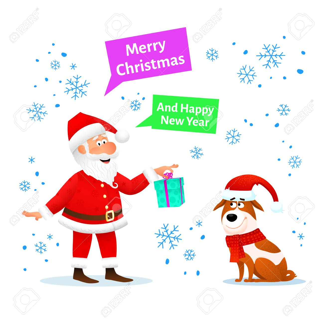 Merry christmas card funny santa claus with xmas gift and dog merry christmas card funny santa claus with xmas gift and dog in red hat on m4hsunfo