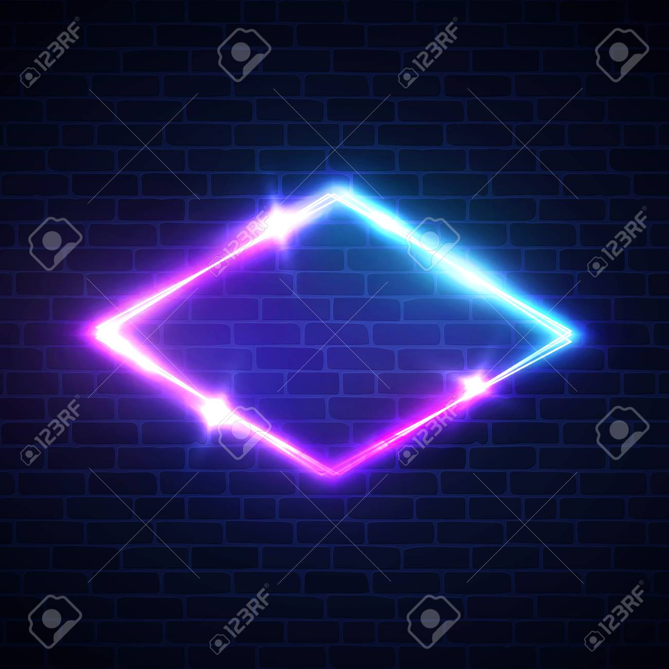 Night club neon light rhomb on brick texture  3d lozenge sign
