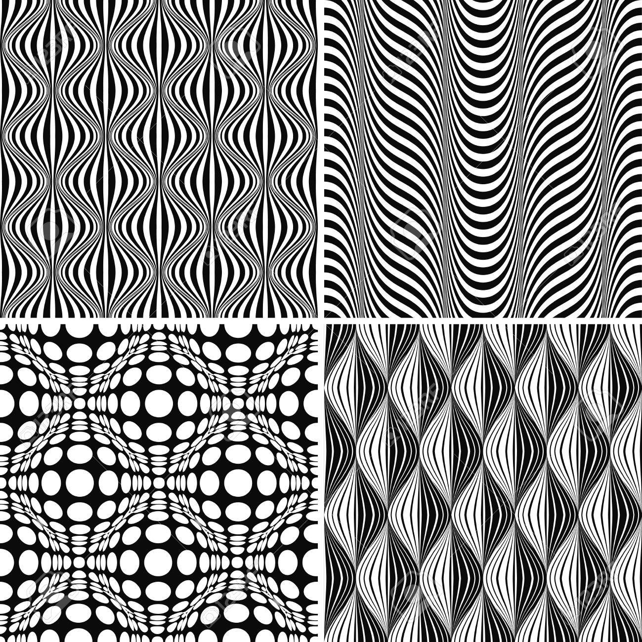 Seamless Op Art Background Pattern Set, illustration Stock Vector - 8620314
