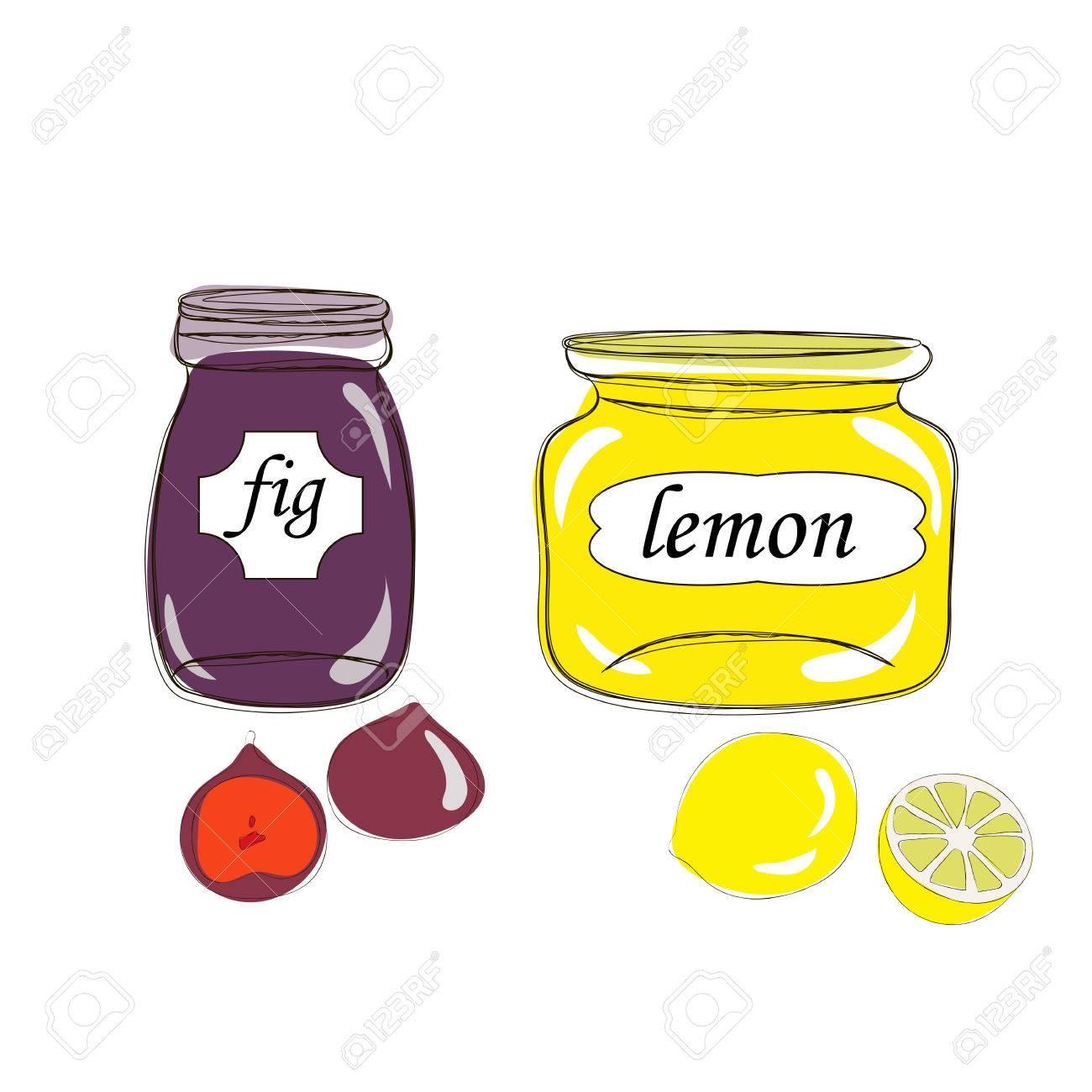 Hand Drawn Masons. Natural Organic Homemade Fig And Lemon Jelly ...