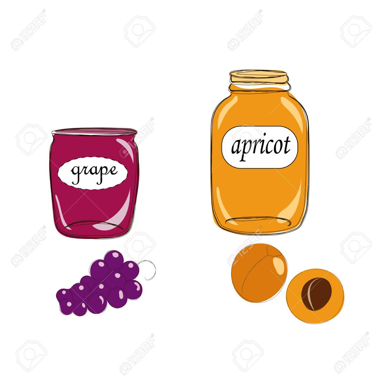 Hand drawn cartoon style jars with natural organic homemade grape and apricot jelly. Cute labels