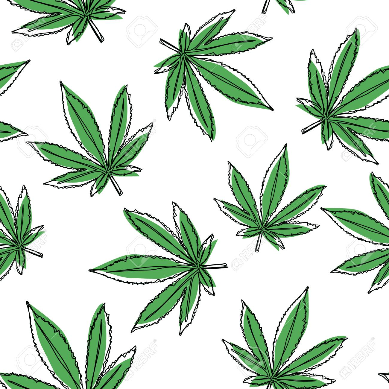 Vector Marijuana Leaves Seamless Pattern Vector Cannabis Background Royalty Free Cliparts Vectors And Stock Illustration Image 115044229