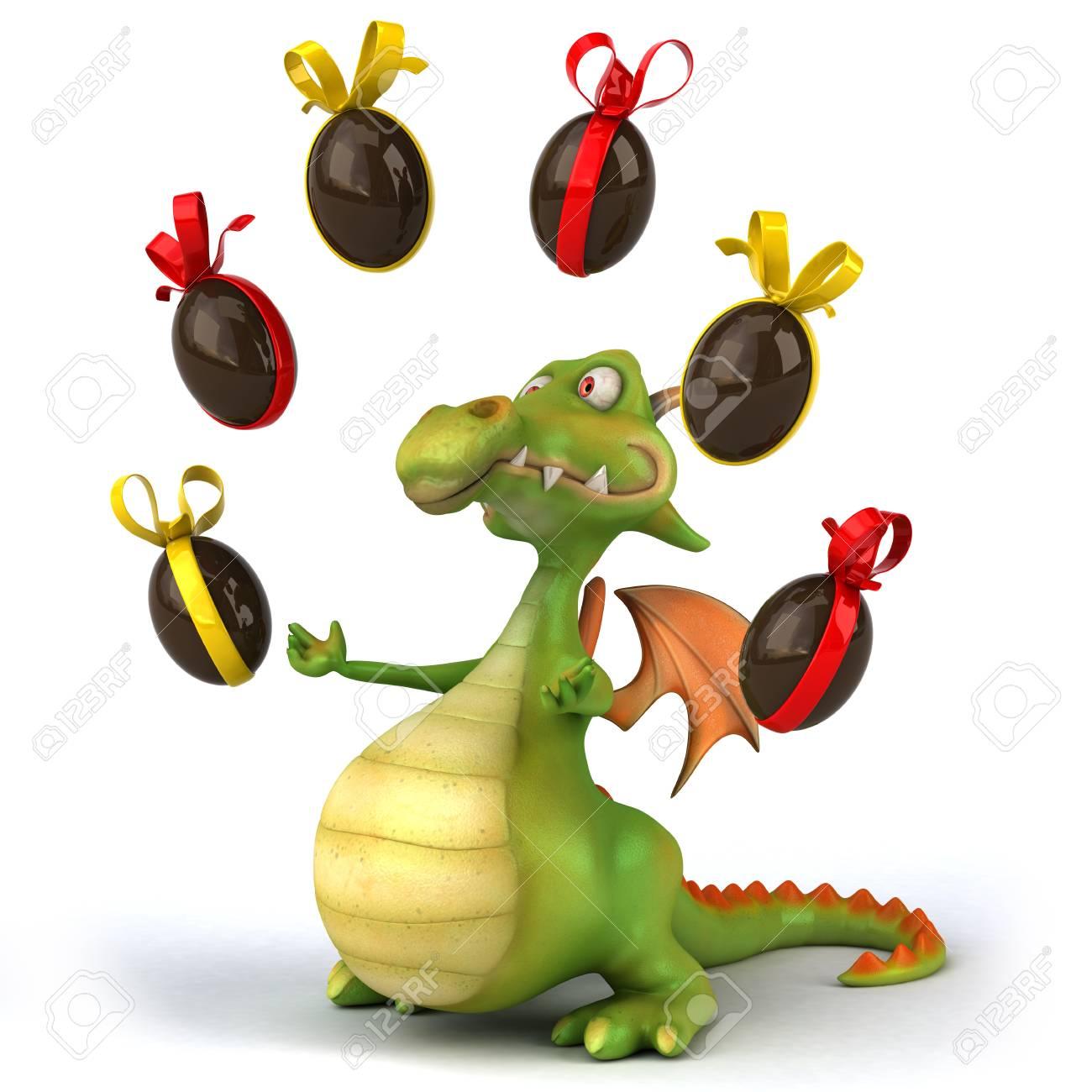 Dragon De Dessin Anime Avec Des Oeufs De Paques Au Chocolat Banque