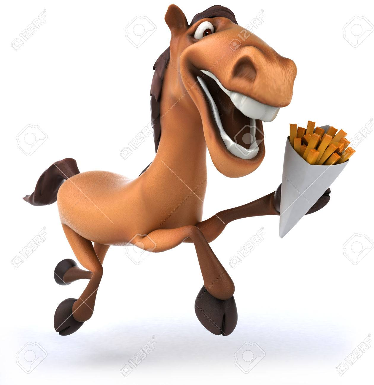 b712519df Cartoon horse with french fries galloping