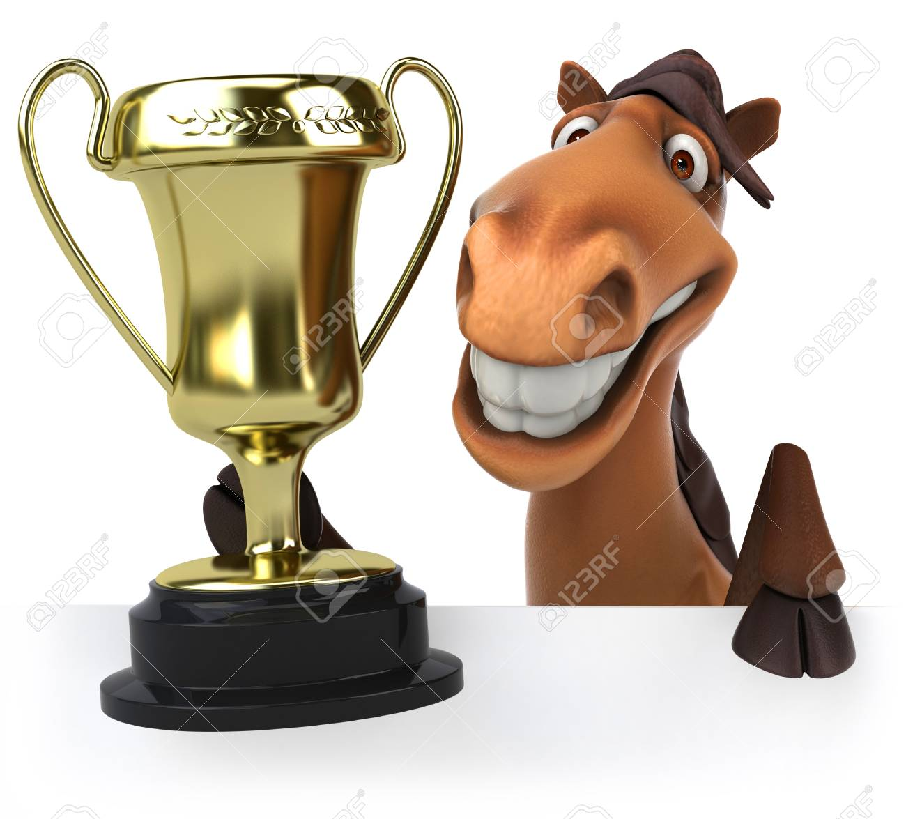 Cartoon Horse With Trophy Stock Photo Picture And Royalty Free Image Image 79721638