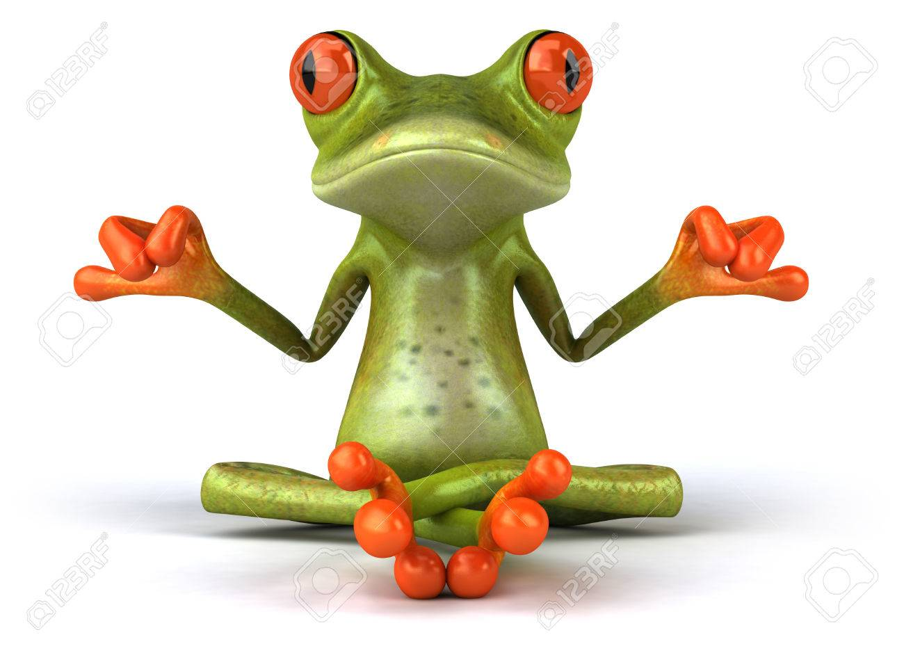 Cartoon frog in meditating pose - 80224543