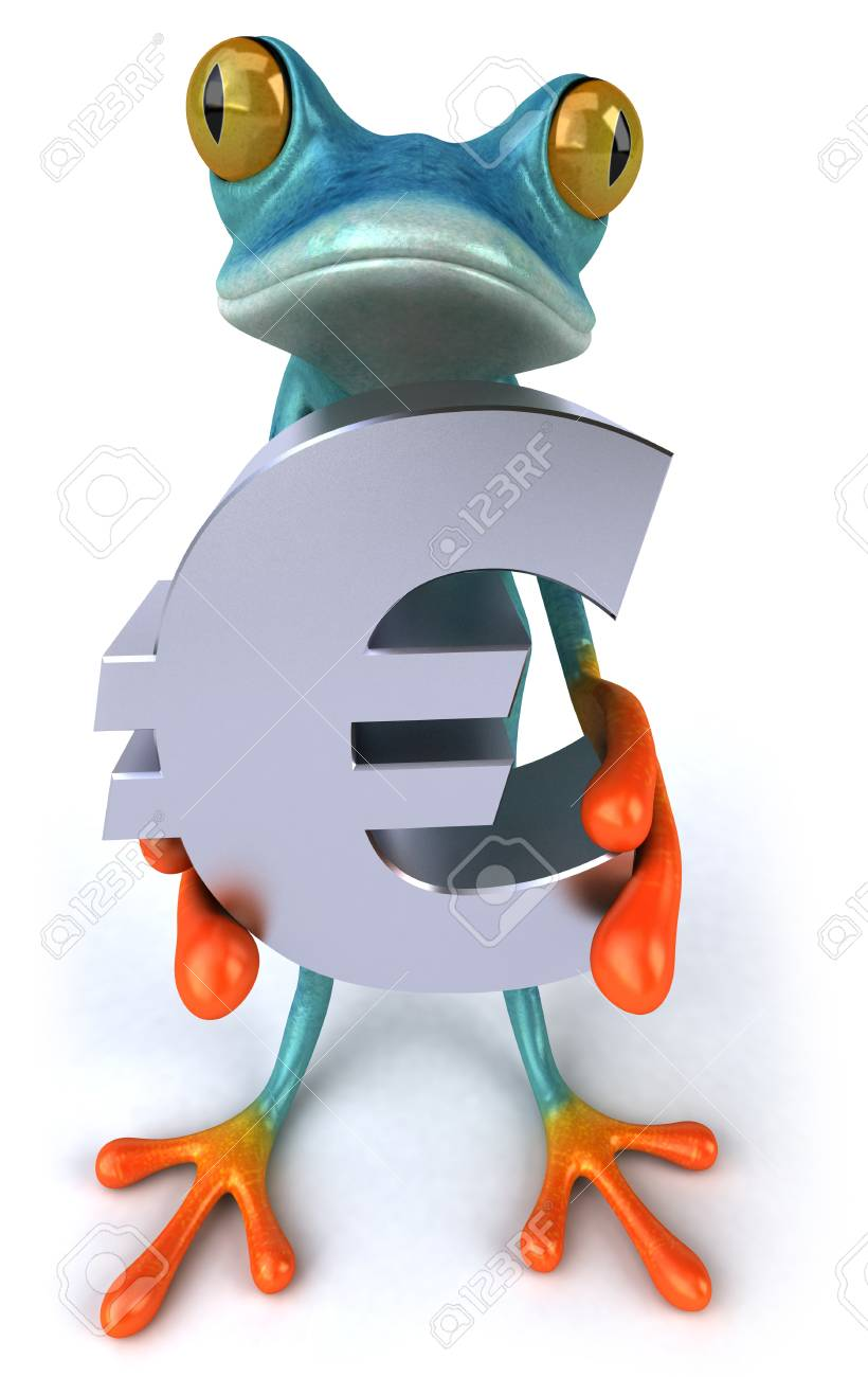 Cartoon Frog With Euro Currency Sign Stock Photo Picture And