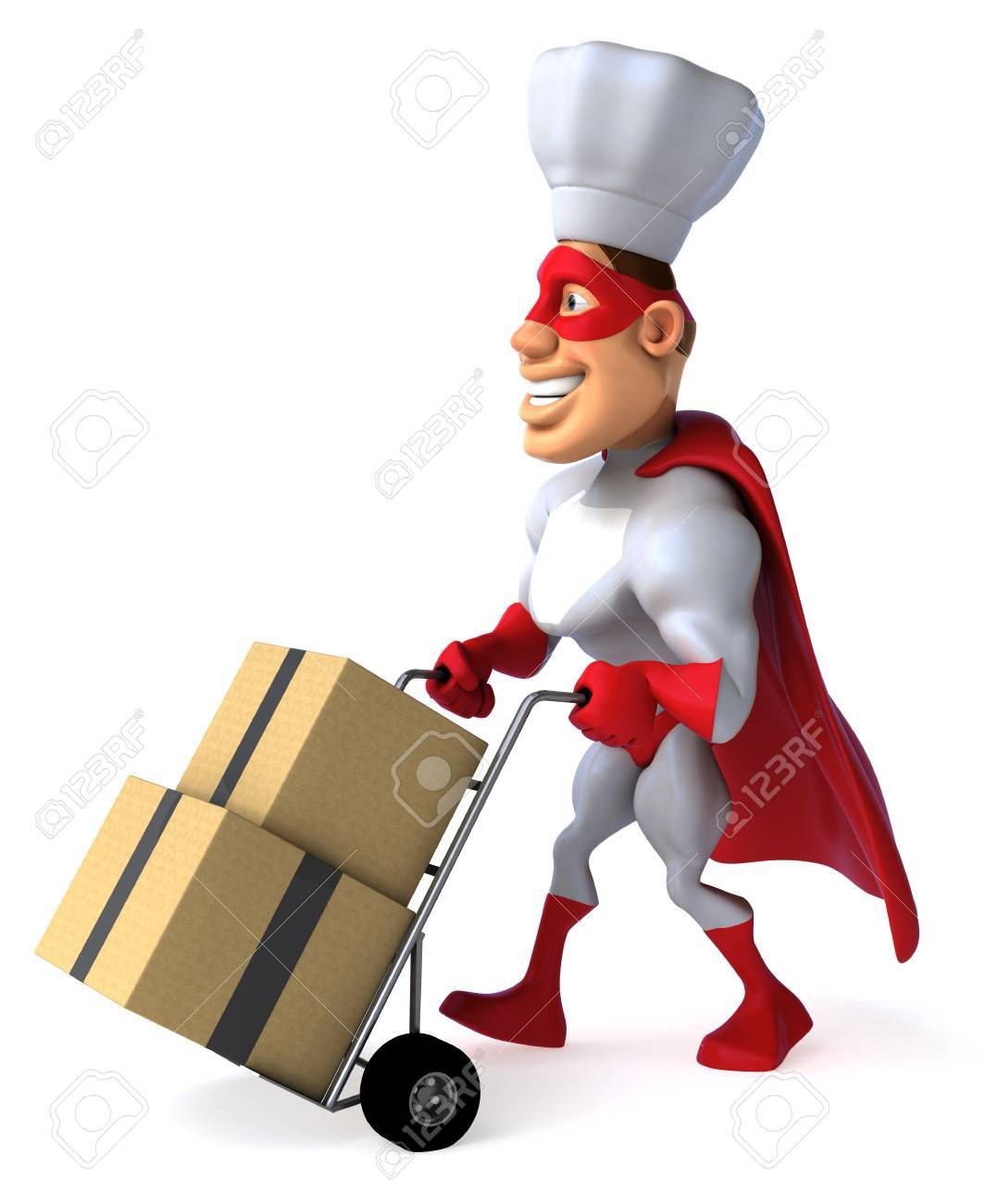 Cartoon Superhero With Chef Hat Pushing A Trolley With Boxes Stock ...