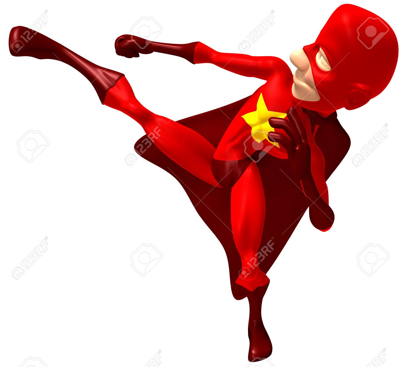 dd11eb7d7b0bd4 Cartoon superhero kicking Stock Photo - 80690896