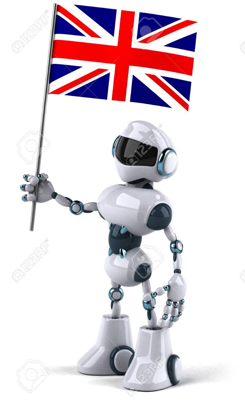 Cartoon Robot Holding A Flag Of United Kingdom Stock Photo Picture