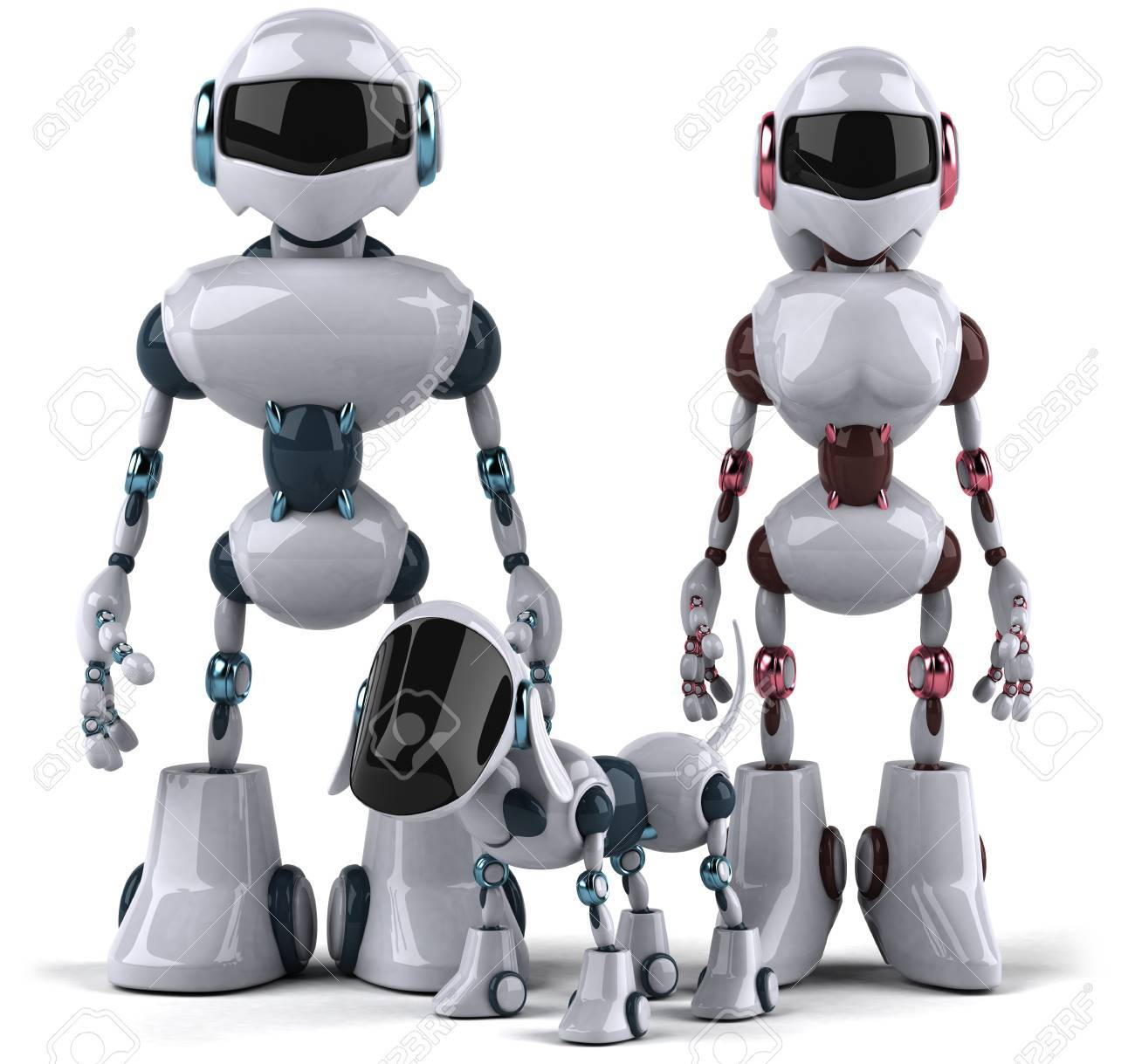 Cartoon male and female robots with robot dog stock photo picture