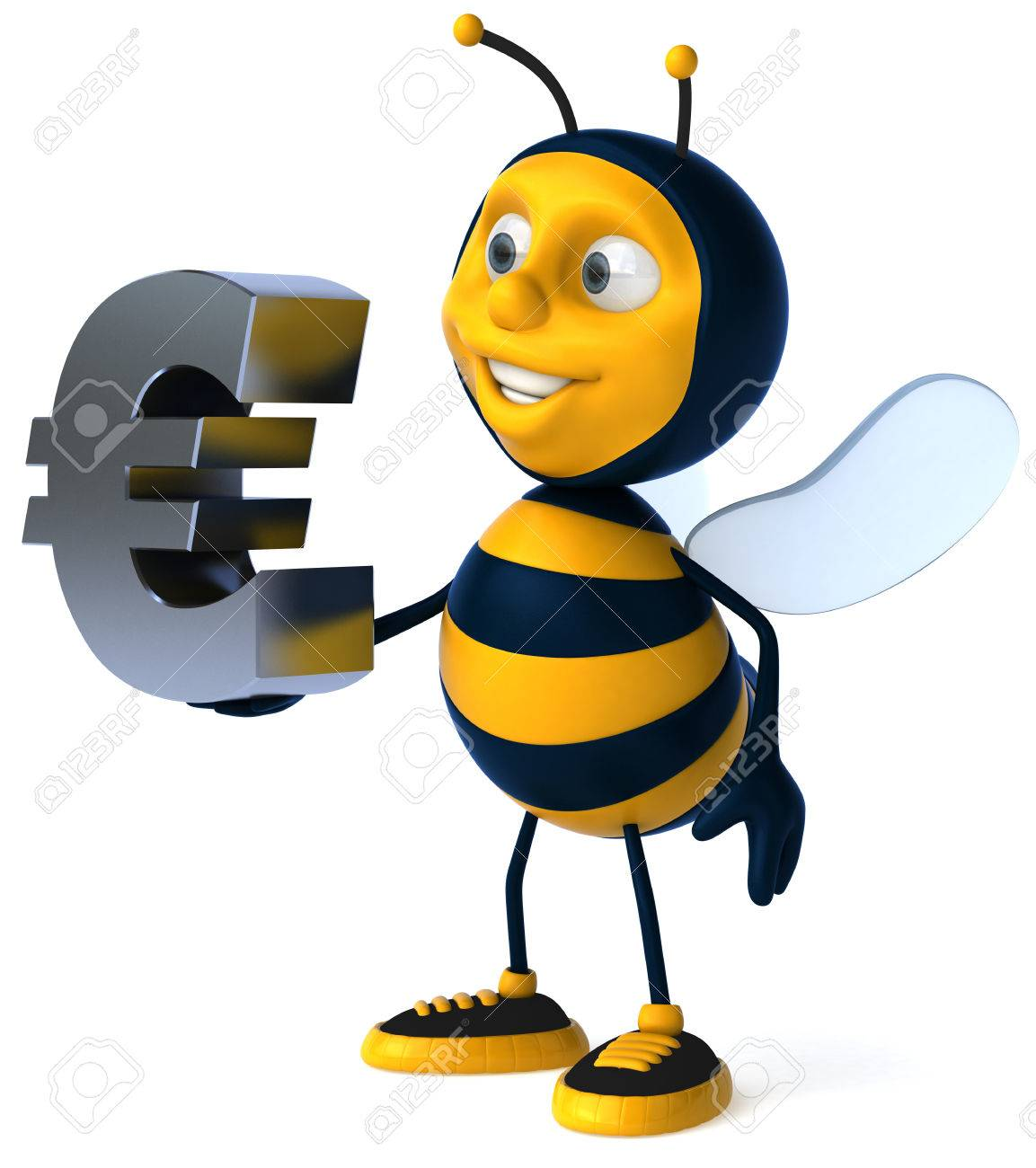 Cartoon Bee With Euro Sign Stock Photo Picture And Royalty Free