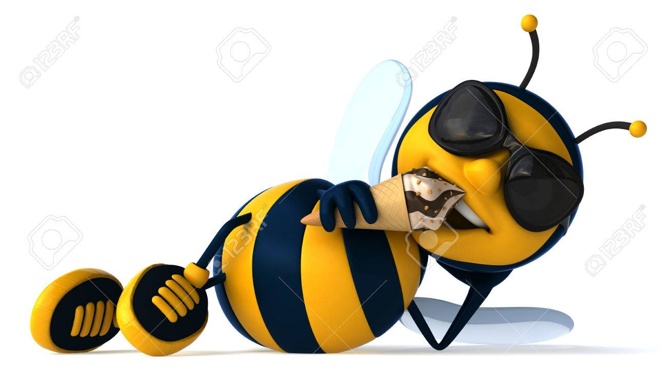 Cartoon Bee Laying Down With Ice Cream Stock Photo, Picture And Royalty  Free Image. Image 82007363.