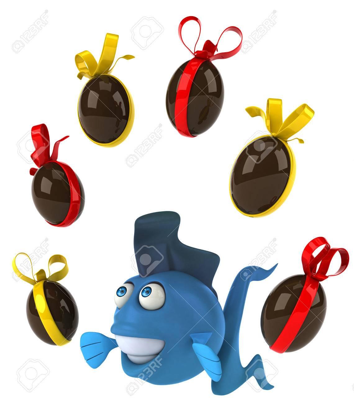Poisson De Dessin Anime Avec Des Oeufs De Paques Au Chocolat