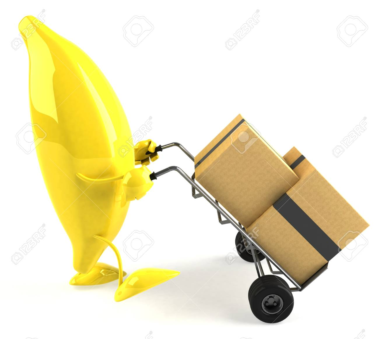 Cartoon Banana Pushing Trolley With Boxes Stock Photo, Picture And ...