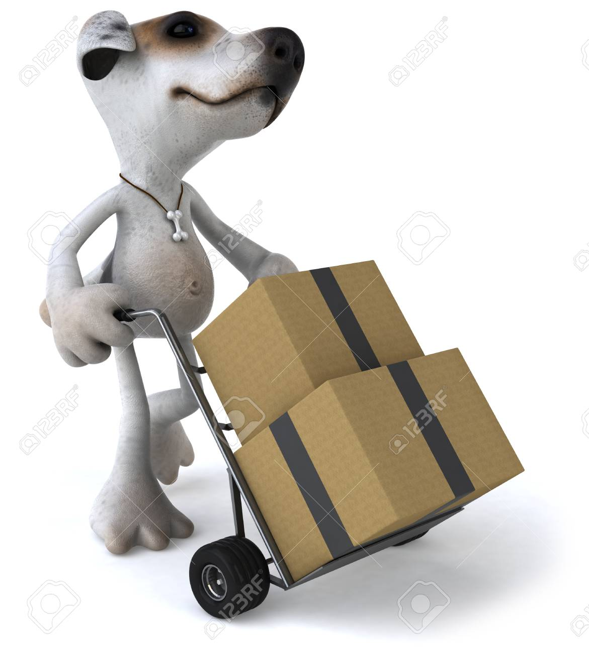 Cartoon dog pushing trolley with boxes