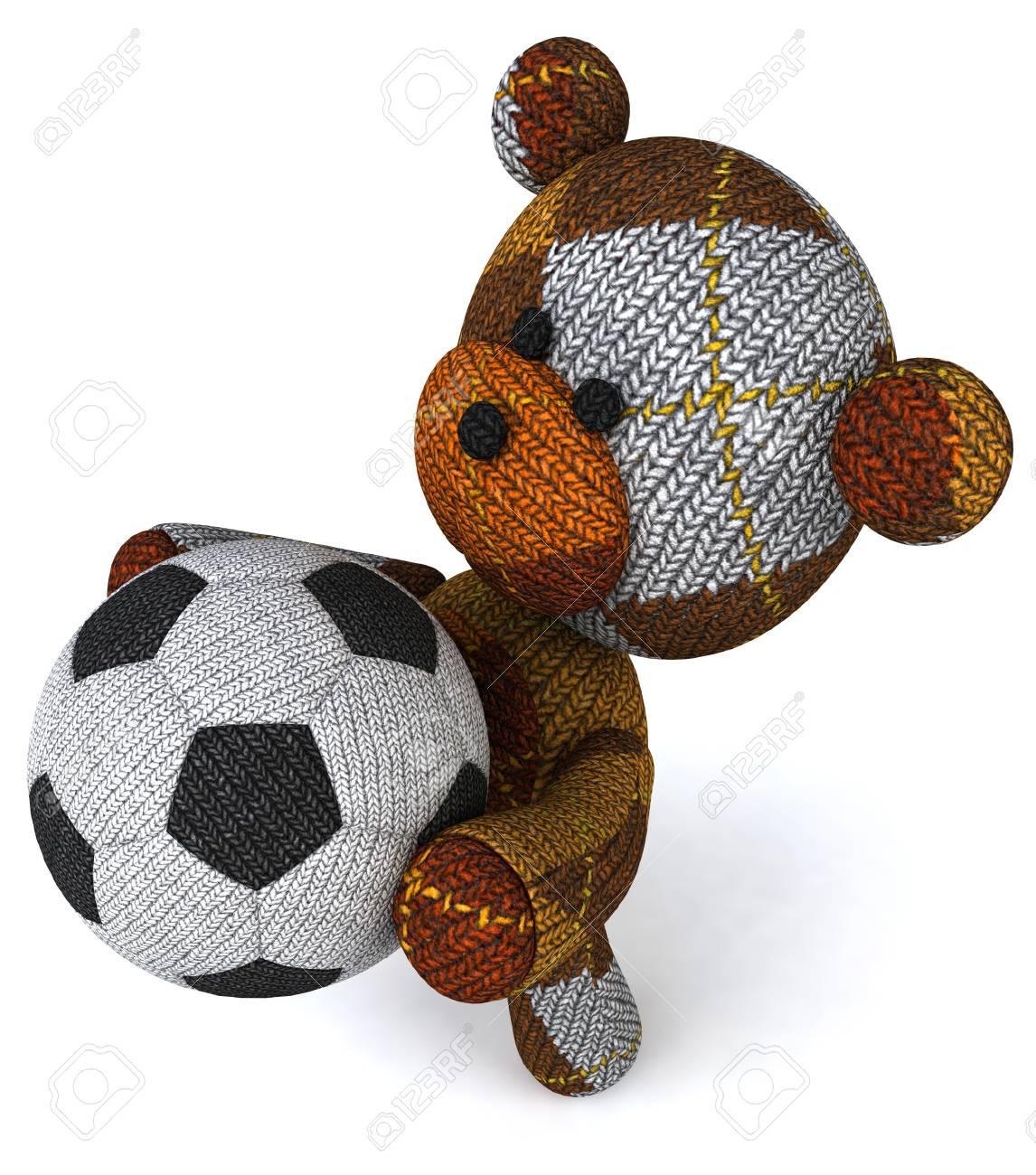 87205b74f6e Cartoon knitted teddy bear with soccer ball Stock Photo - 83466373