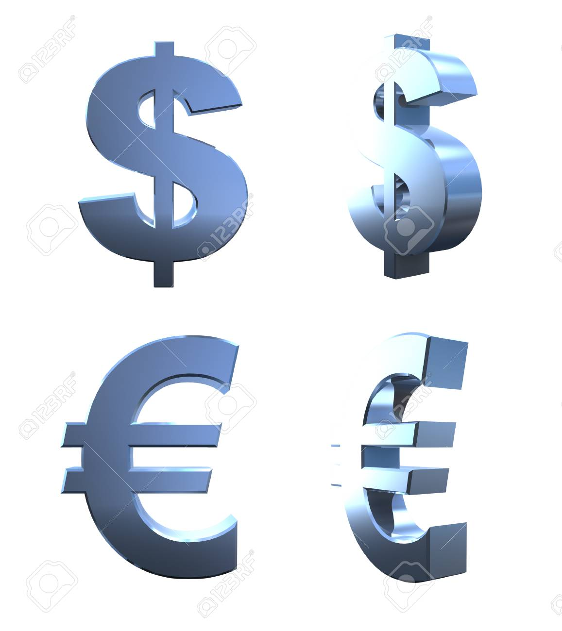 3d Dollar And Euro Currency Symbols Stock Photo Picture And Royalty