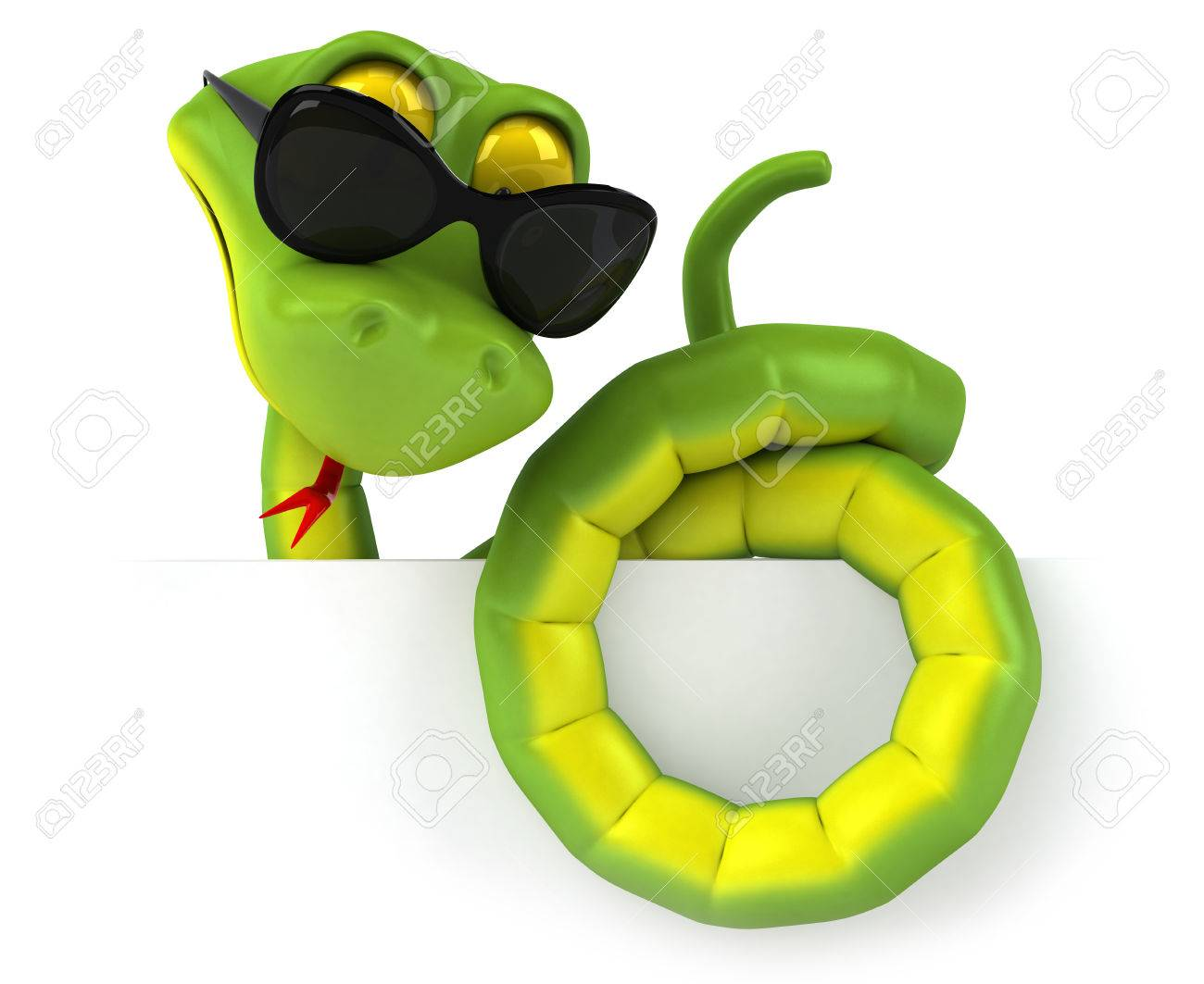 Snake Character Wearing Sunglasses Stock Photo, Picture And ...