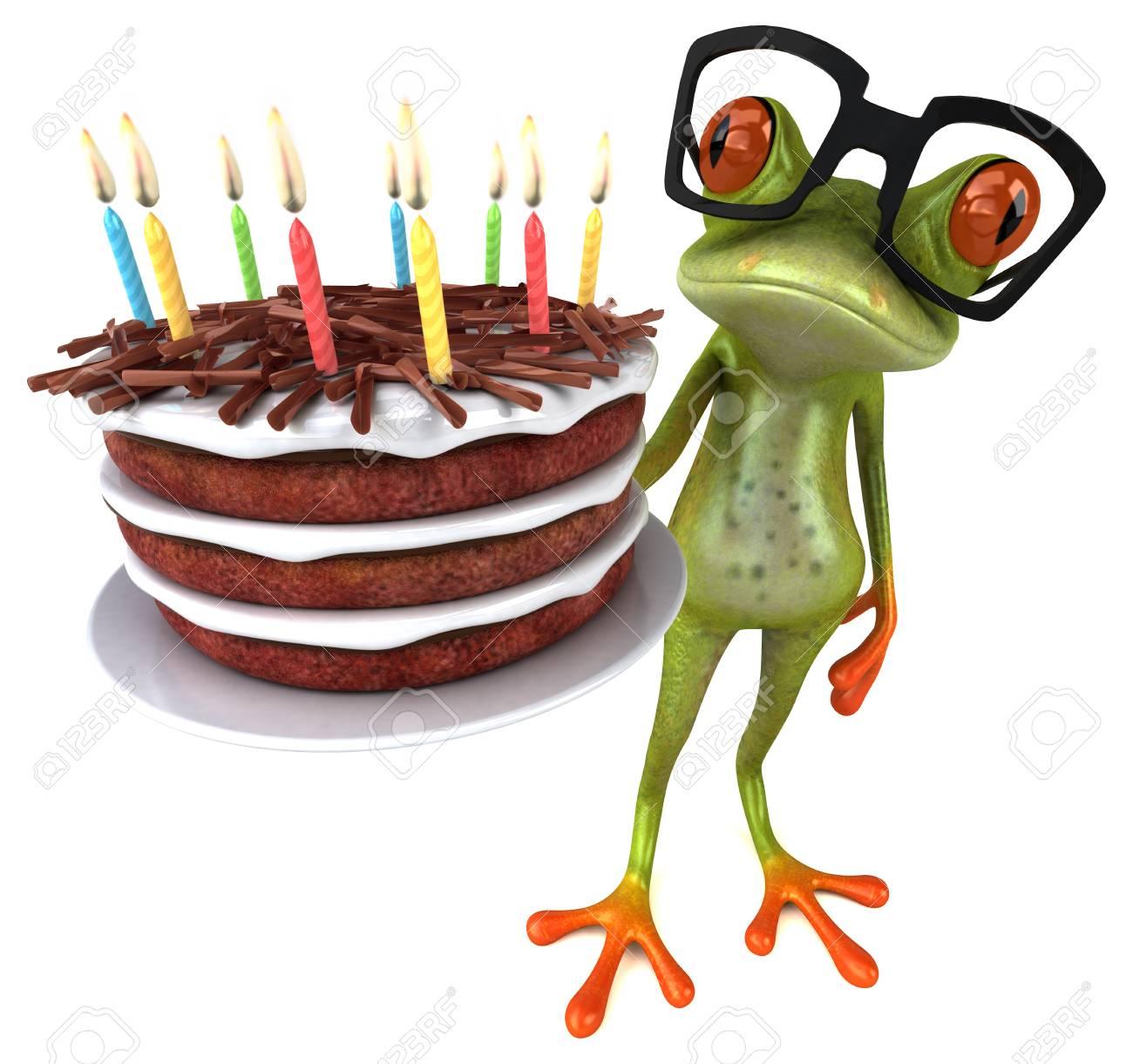 Super Fun Frog With A Birthday Cake 3D Illustration Stock Photo Funny Birthday Cards Online Necthendildamsfinfo