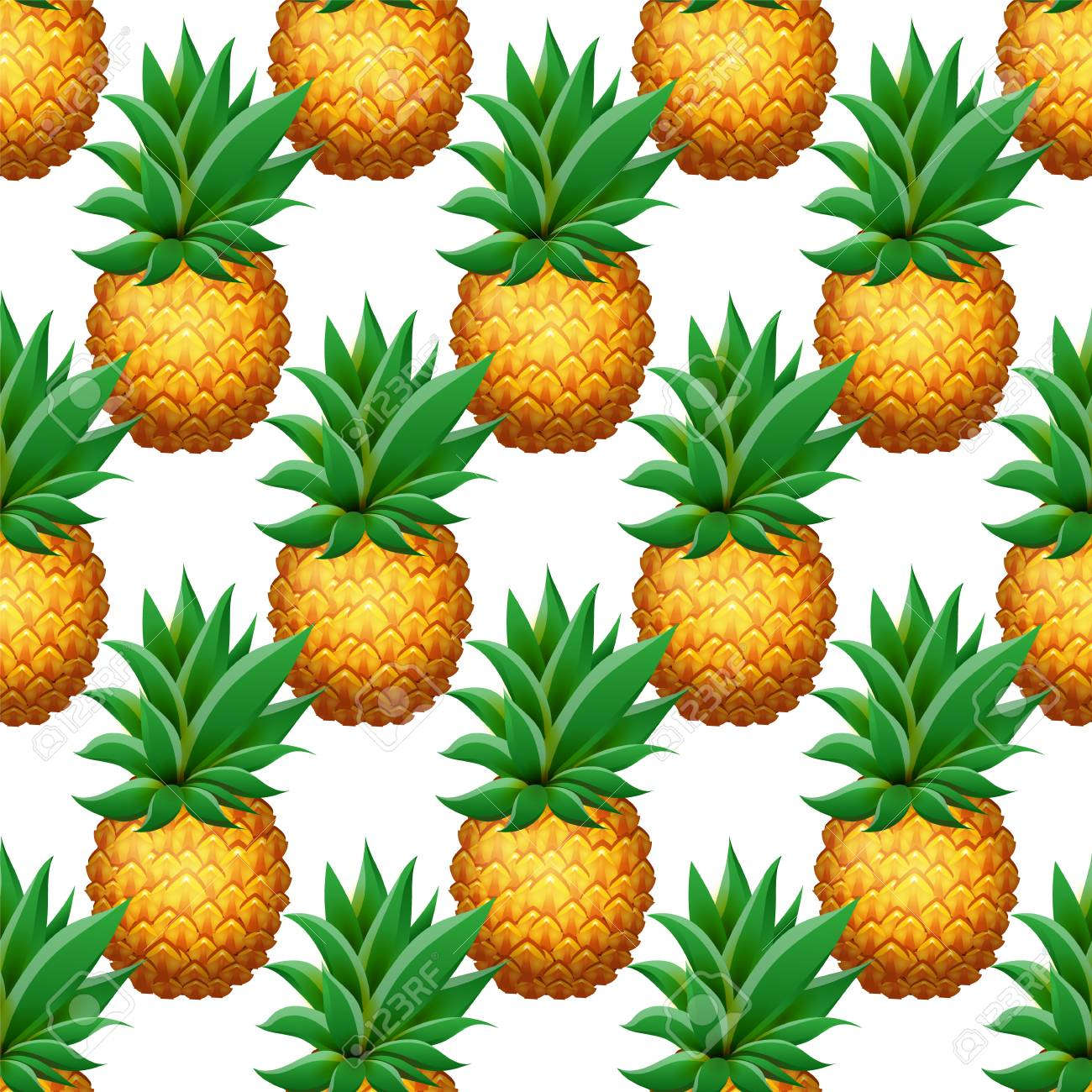 111941786 seamless pineapple pattern realistic cartoon pineapples on white background tropical fruits pattern