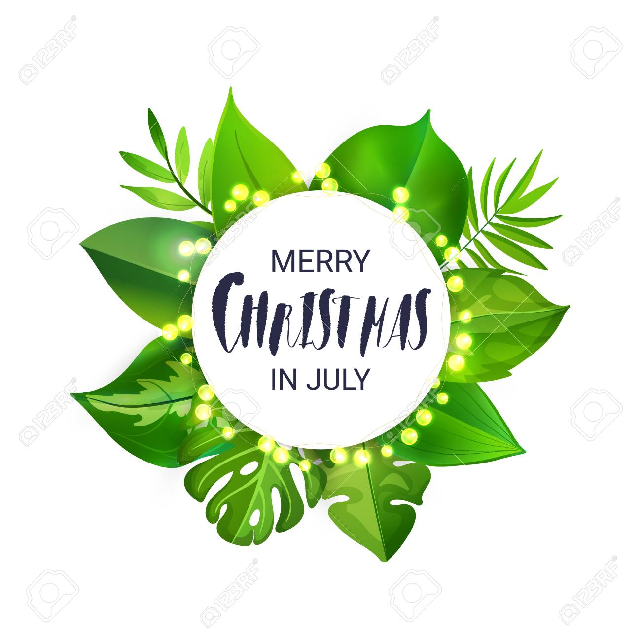 Happy Christmas In July Images.Merry Christmas In July Floral Banner With Luminous Garland And