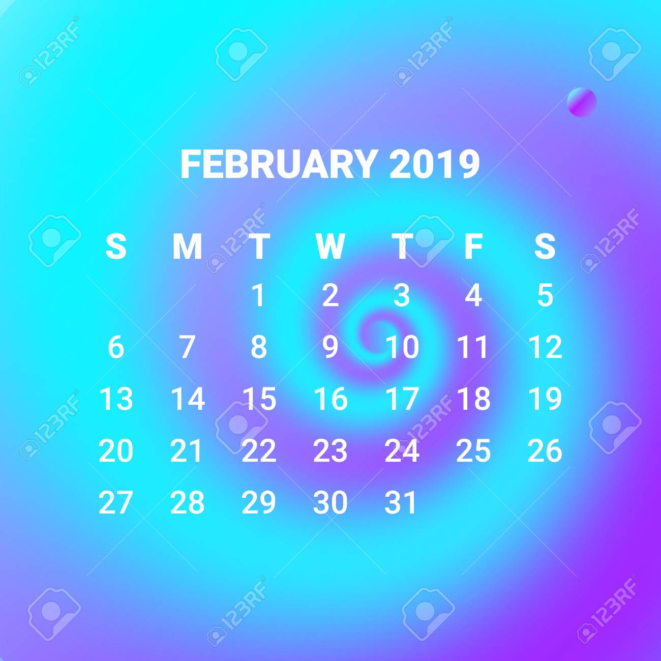 3d Fluid Colorful Liquid Calendar 2019 February Month Concept