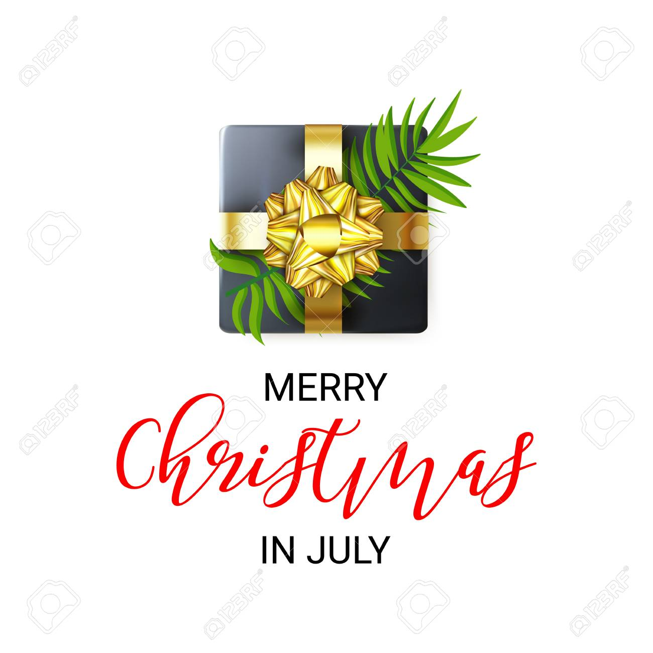 Christmas In July Royalty Free Images.Merry Christmas In July Greeting Banner Decorated With Realistic