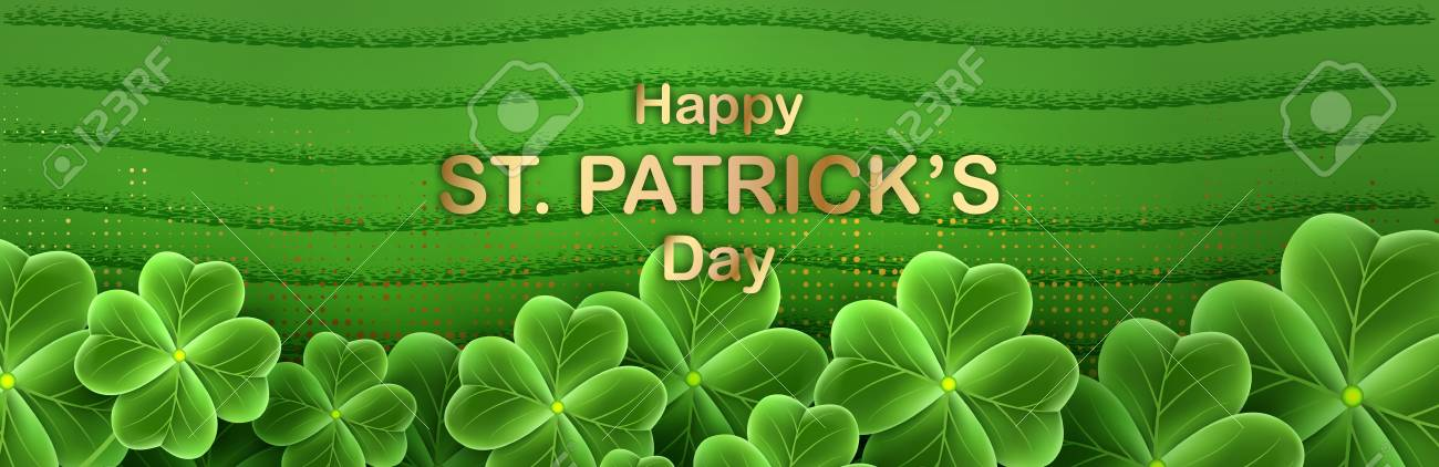 San Patricks Day Card With Clover Leaf Shamrock Grass Wallpaper