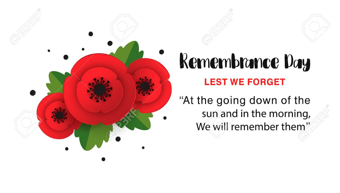 Remembrance Day Memorial Poster Paper Cut Red Poppy Flower