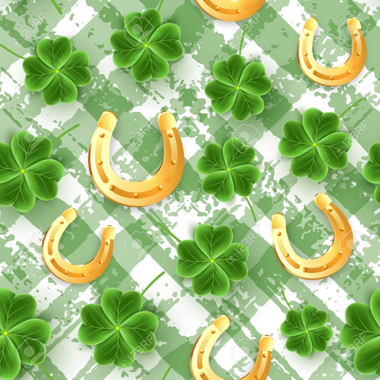 San Patricks Day Pattern Of Realistic Clover Leaves Green Shamrock Grass Wallpaper Joy Flower For Irish Beer Festival Scottish Ornament