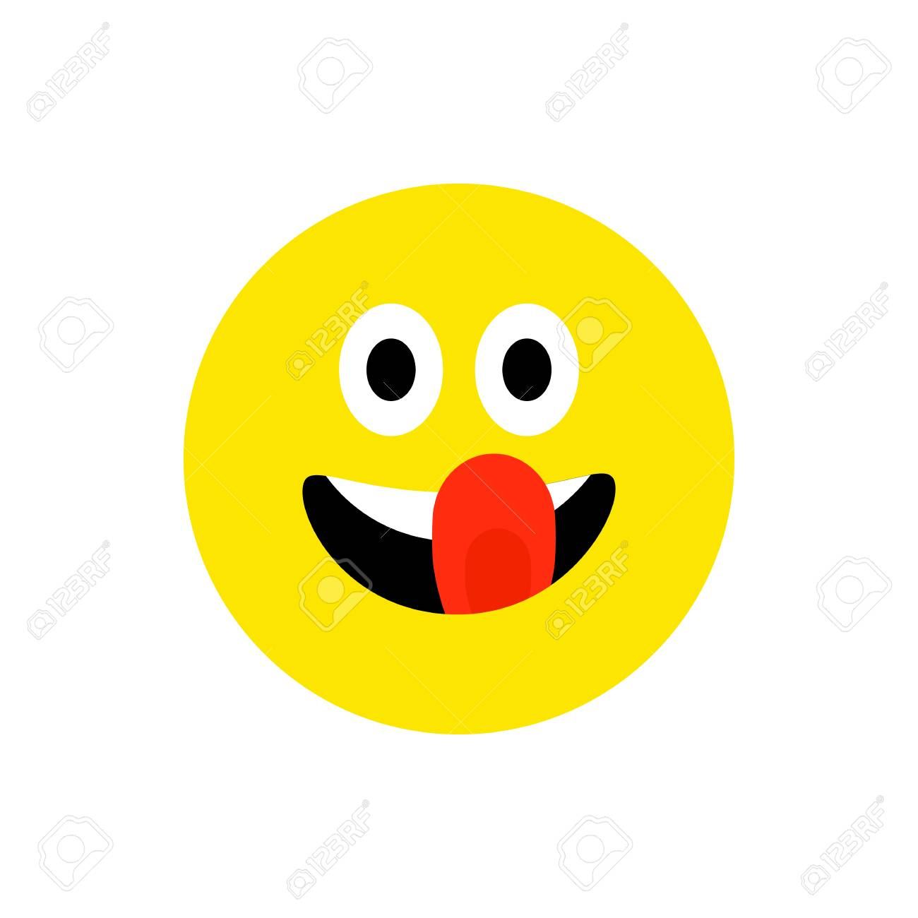 Happy face smiling emoji with open mouth  Funny Smile flat style