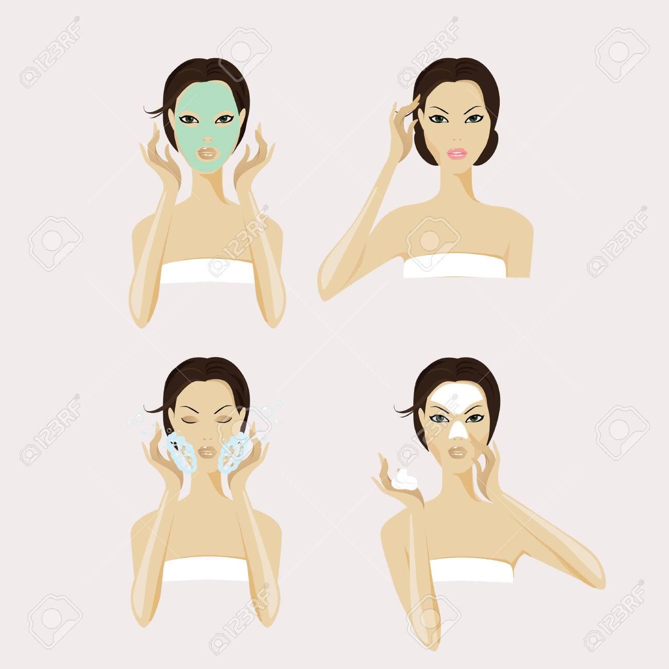 A girl face with facial mask and makeup. - 61414719