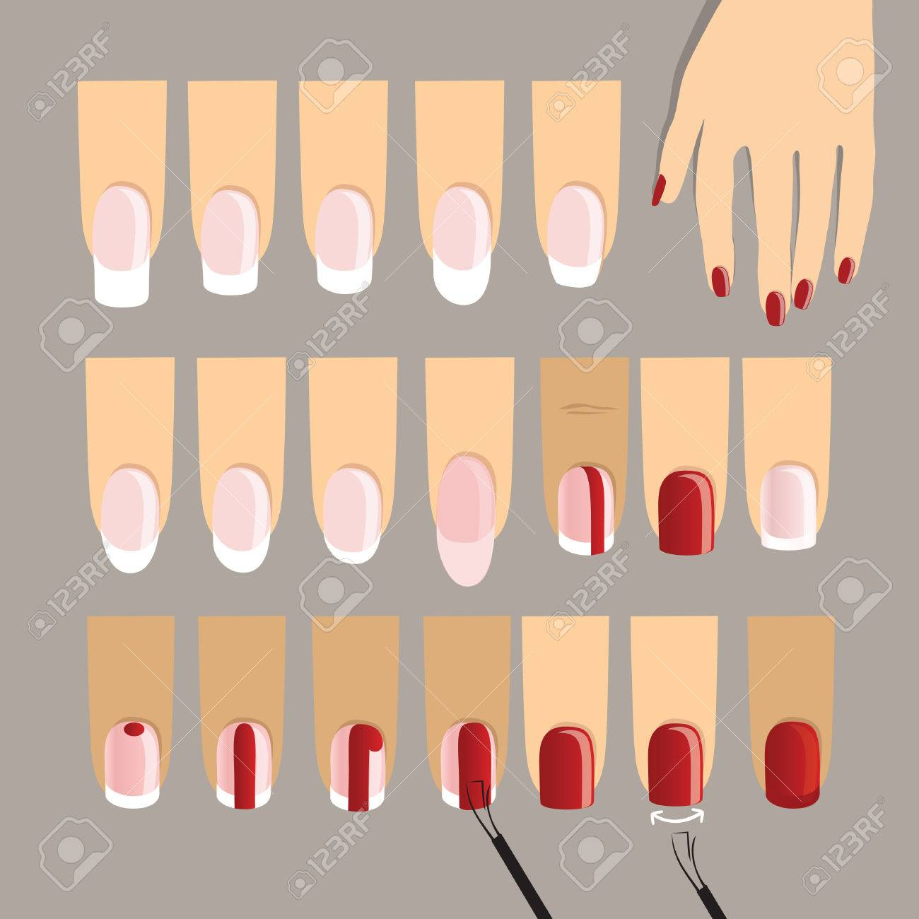 Manicured Fingers In Different Shapes. French Manicure. Manicure ...