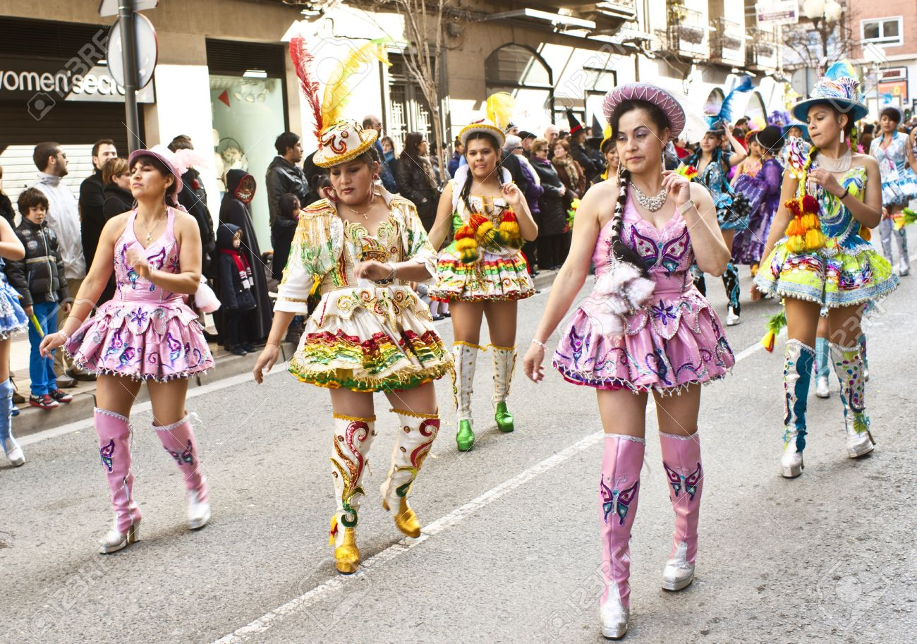 TUDELA - FEBRUARY 19: Bolivia's traditional dance parade through the streets during the celebration of Carnival. On February 19, 2012 in Tudela, Spain Stock Photo - 13714830