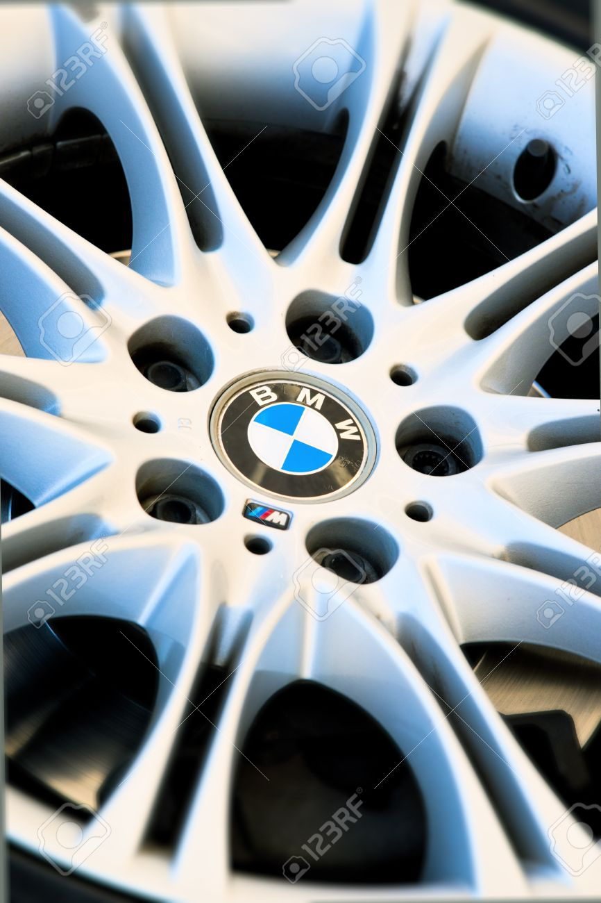 Bmw Symbol On The Wheel Of A Sports Car Stock Photo Picture And