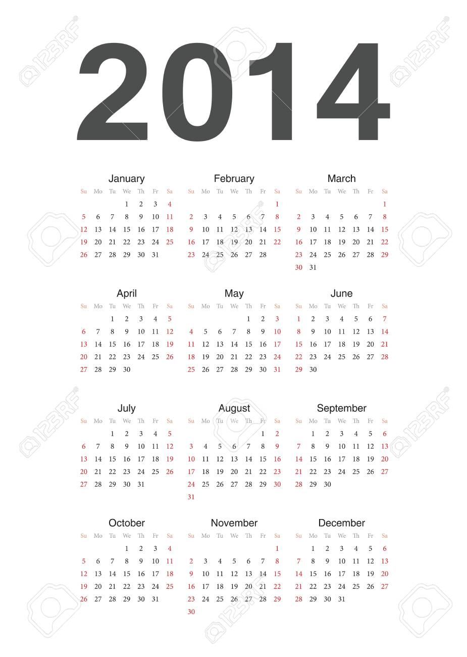 Simple european 2014 year calendar Stock Vector - 18415369