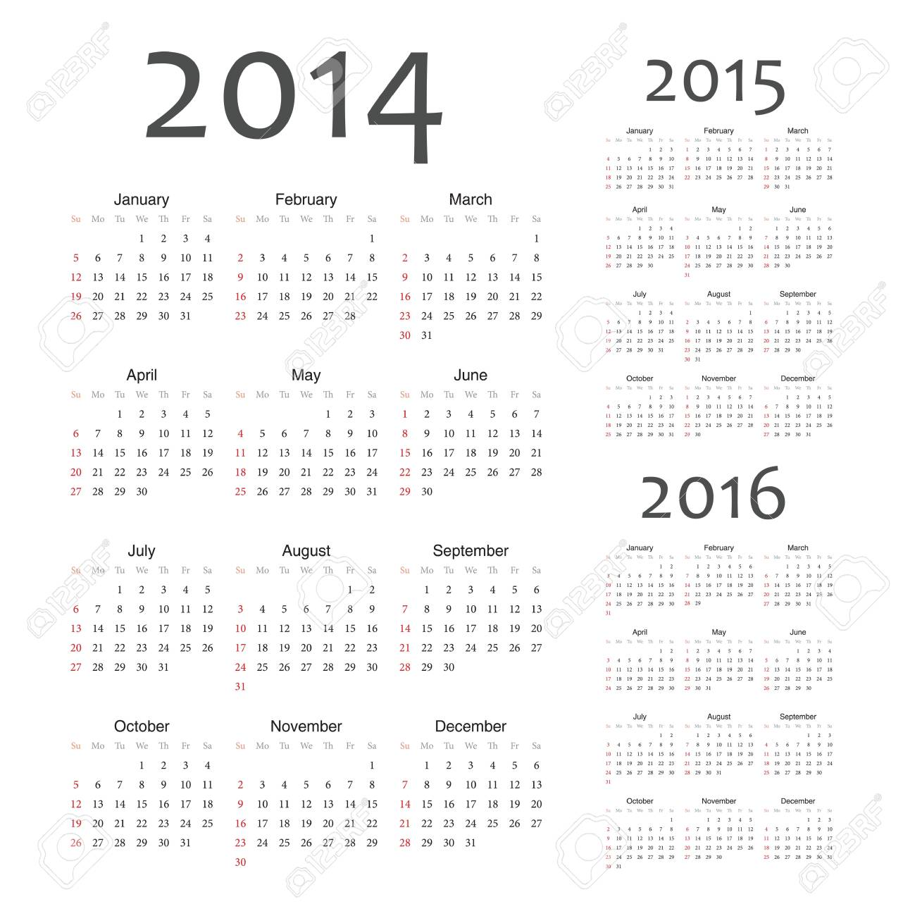 Simple european 2014, 2015, 2016 year calendars Stock Vector - 18415389