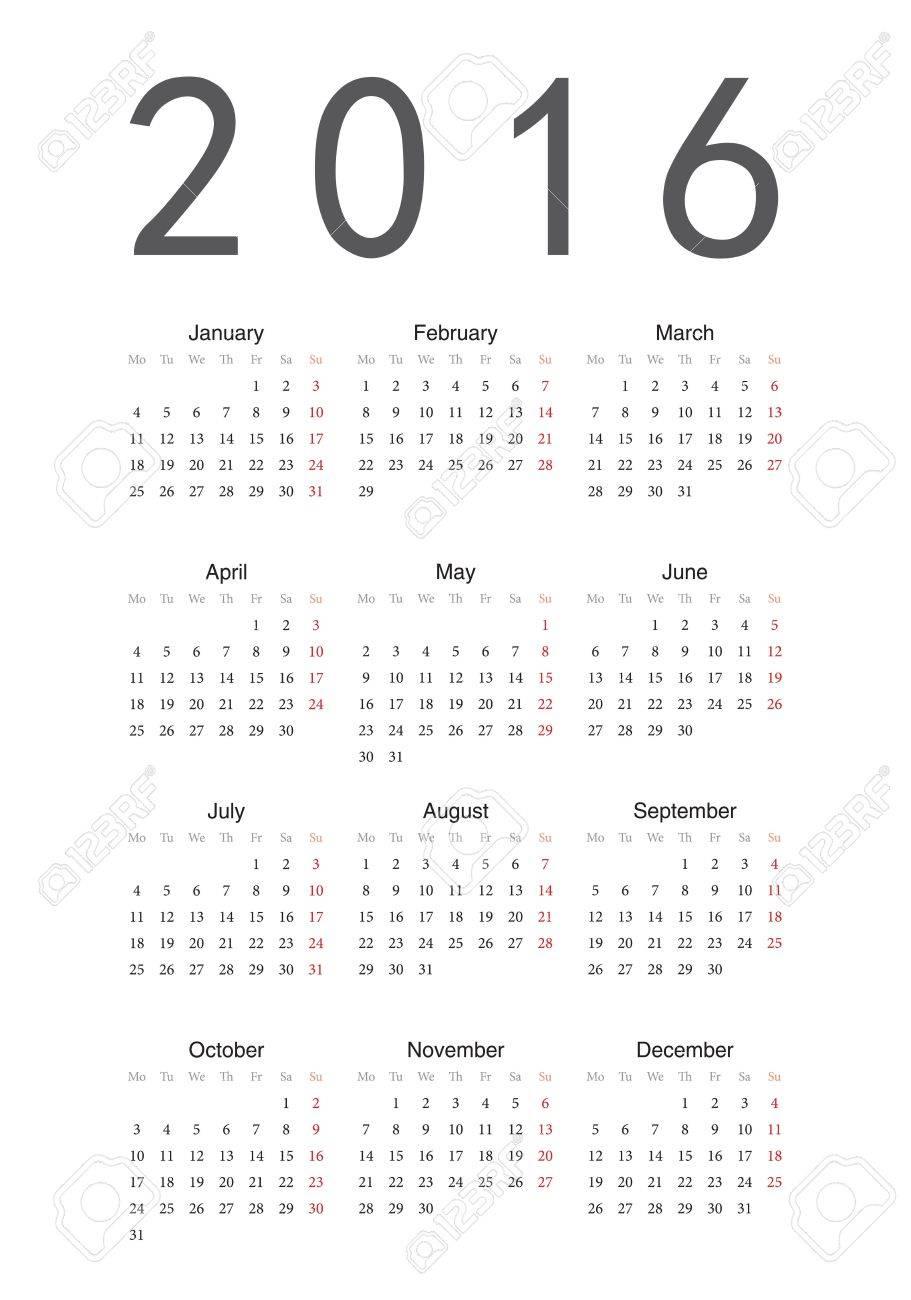 Simple European 2016 Year Calendar Royalty Free Cliparts, Vectors ...
