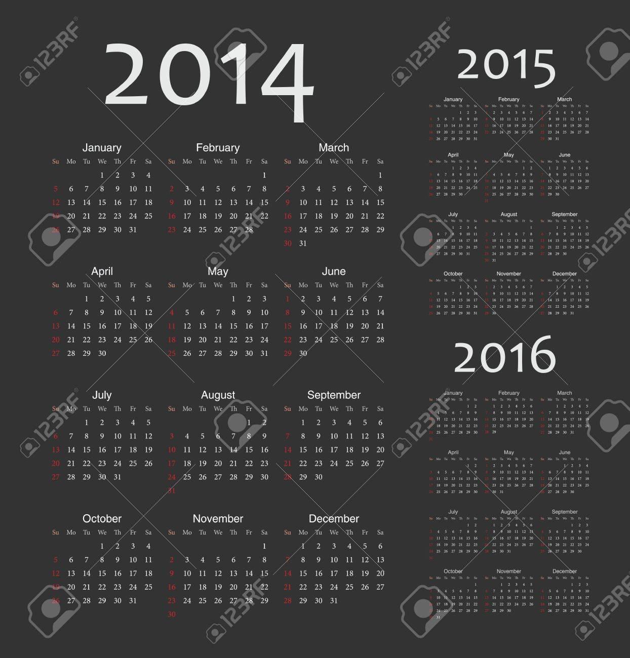 Simple european 2014, 2015, 2016 year  calendars Stock Vector - 19320211